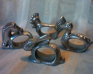 4 Seltene Serviettenringe Tiere - Hase Pferd Huhn Ente - Serviettenhalter Bild