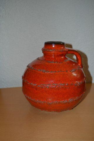 50er 60er 70er Jahre Vase Phat Lava Warzen Style Rot Wunderschön Bild