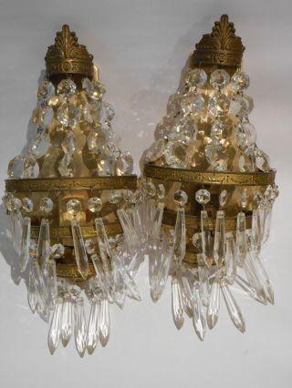 2 Stück Orig.  Wandleuchte Lüster Kristall Messing Elektrifiziert Empire Um 1930 Bild