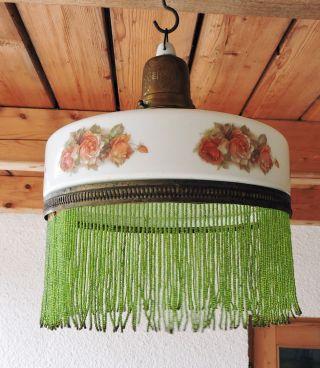 Jugendstil Lampe Deckenlampe Rosendekor Perlenbehang Schöne Fassung Bild