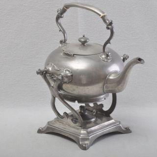 Jugendstil Teekanne Auf Rechaud / Stövchen,  Zinn,  Wasserkessel Mit Brenner Bild
