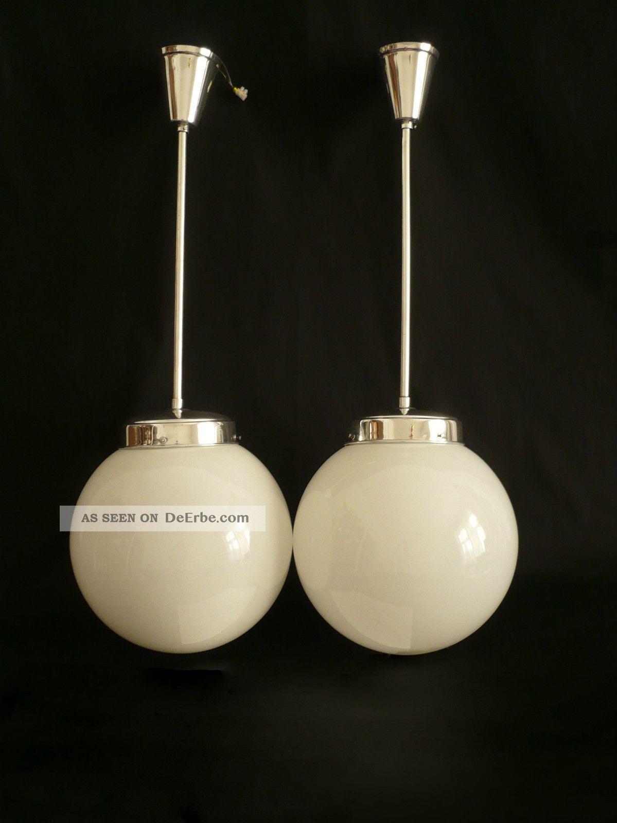 Paar Bauhaus Lampe Leuchte Opalglas Deckenlampe Kugellampe