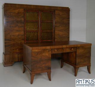Herrenzimmer Art Déco Antik 30er Jahre Schreibtisch Bücherschrank Nussbaum Bild