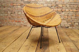 60s Basket Chair Designer Stuhl Sessel Korbstuhl 60er Franco Legner Ära Vintage Bild