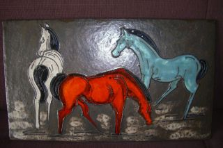 Große Wandplatte Wandbild Big Wallplate Walltile Wandkachel Ruscha Pferde Horses Bild