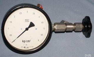 Großes Ddr Manometer Druckmesser Messuhr 6 Bar Kp/cm2 160mm Art Deco Design Loft Bild