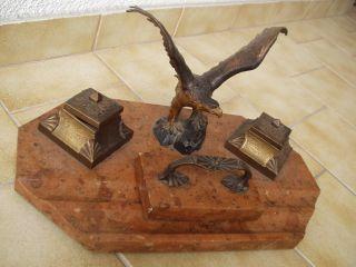 Antike Originale Schreibtischgarnitur Aus Marmor,  Bronze/messing - 19.  Jhd Bild