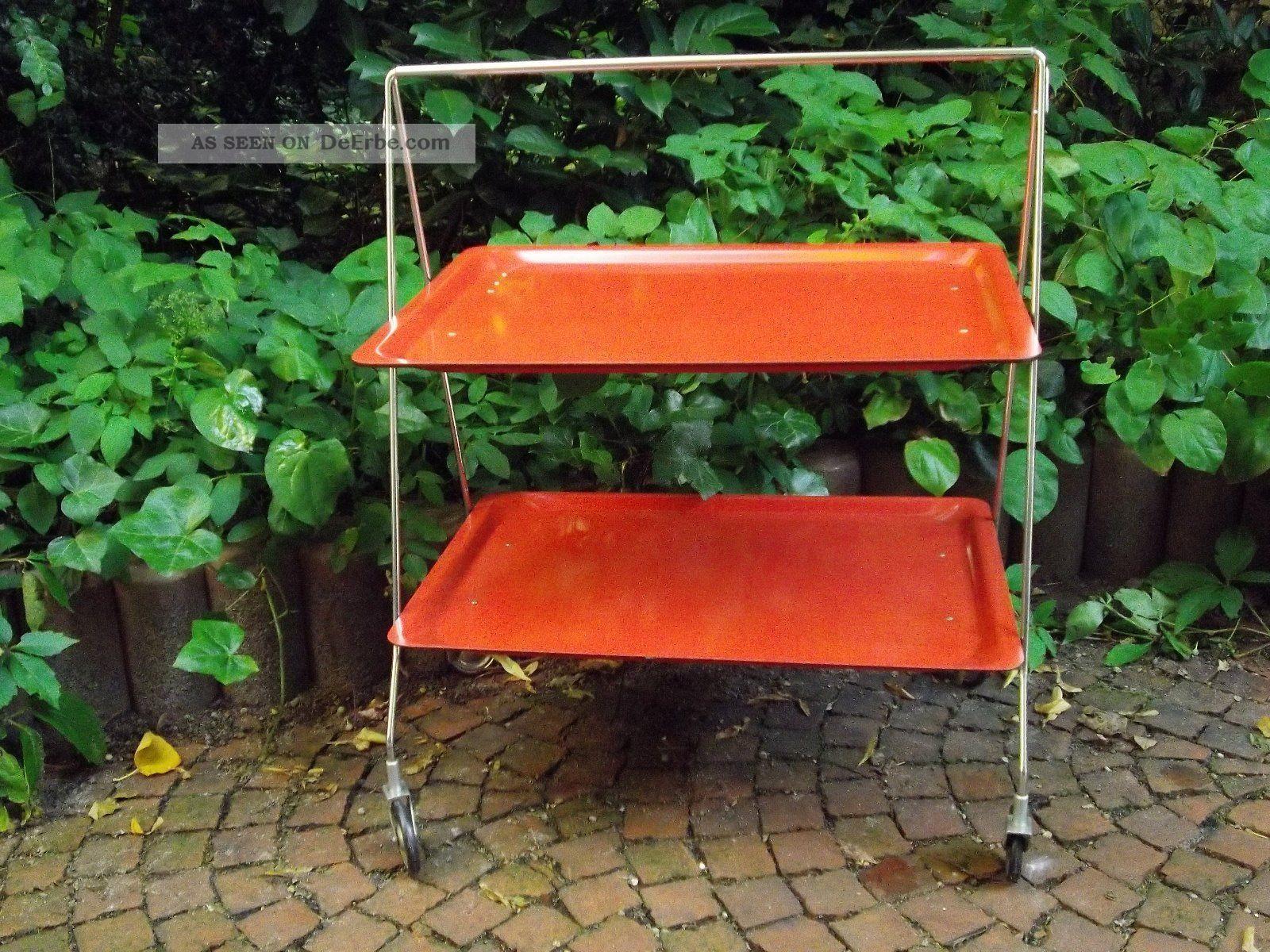 Servierwagen beistelltisch teewagen orange 70er for Beistelltisch orange