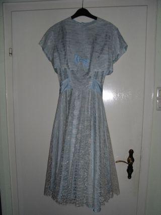 Kleid Gr.  38 Rockabilly,  Jäckchen Himmelblau Spitze Taft Ballkleid Tanzkleid Bild