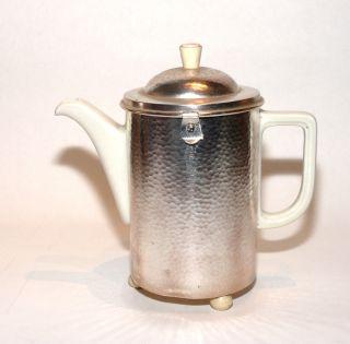 Wmf Art Deko Kaffeekanne Warmhaltekanne Mantel Versilbert Porzellan Kanne D.  R.  P. Bild