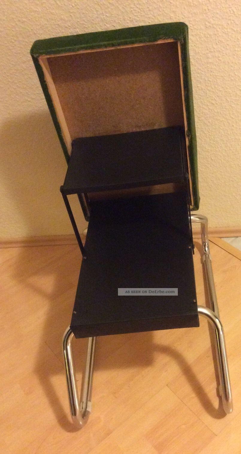 70er jahre hocker tritt mit leiter pl schhocker gr n chrome space age design. Black Bedroom Furniture Sets. Home Design Ideas