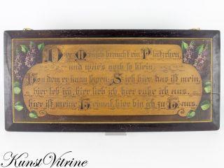 Große Tafel Mit Sinnspruch,  Um 1900,  Jugendstil,  Bemalt Und Brandmalerei Bild
