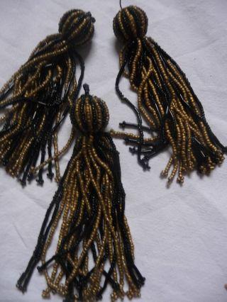 Drei Seltene Jugendstil Perlen - Quasten - Schwarz/gold Bild