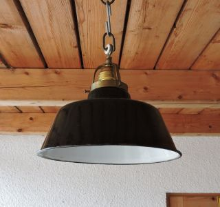 Alt Bauhaus Art Deco Lampe Deckenlampe Email Messing Fassung Loft Industrie Bild