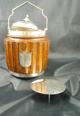 Seltener Eiswürfelbehälter Aus Eiche,  Henkel Versilbert,  Innen Keramik, Bild