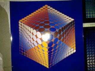 3 X Vasarely,  Op Art,  70er,  Tupa - 3,  Quasar - Paal 2,  Koska Rev Bild