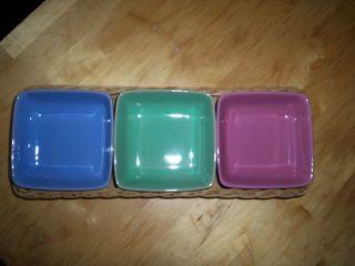 Bückeburg/keramikschalen/3 Schalen/dip - Grün,  Rosa,  Blau/pastell,  Korb/ - 50er/60er Bild