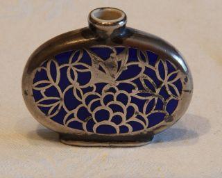 Parfümfläschen Blaues Glas (keramik?) Silber Einlagen Niellotechnik Jugendstil Bild