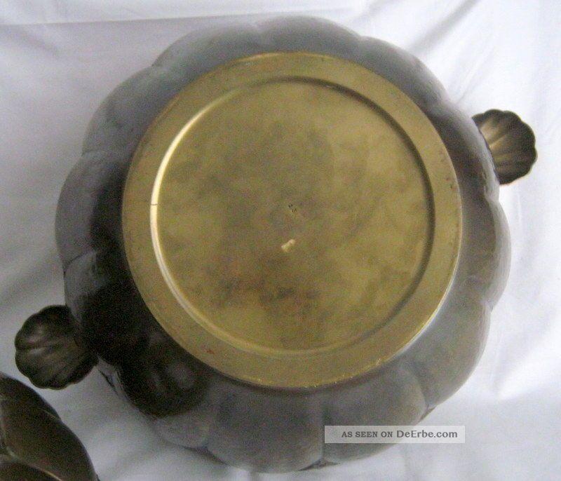 gro es metall bowle gef kessel topf beh lter mit deckel messingblech. Black Bedroom Furniture Sets. Home Design Ideas