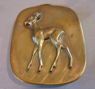 30/50er J.  Art Deco Wandplakette Reh Bronze - Messingguss Bild