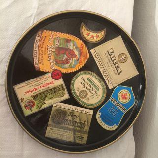 60er 50er Jahre Tablett Mit Wein - Und Schnapsetiketten Bild