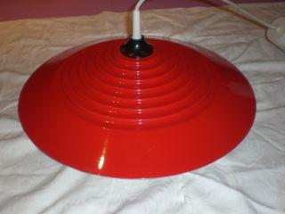 Ufo Design Metall Lampe Leuchte Hängelampe Rot 42cm 70er Retro Vintage Pop Art Bild
