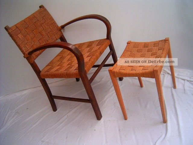 art deco armlehnstuhl mit hocker kordelgeflecht sessel. Black Bedroom Furniture Sets. Home Design Ideas