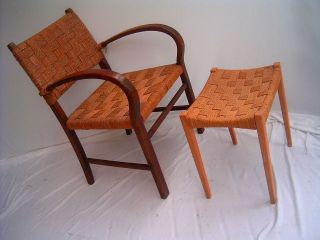 Art Deco Armlehnstuhl Mit Hocker Kordelgeflecht Sessel Bild