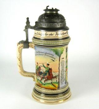 Gerz Jugendstil Porzellan Krug / Reservisten - Krug 1898/1901 Kavallerie Bierkrug Bild