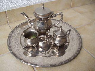 Antikes Originales 4 - Teiliges Kaffee/tee - Service Incl.  Sehr Schönem Tablett Bild