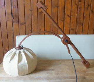 Wand Bogenlampe Teak Holz Wandmontage 60er Jahre Dänemark Funktioniert Bild