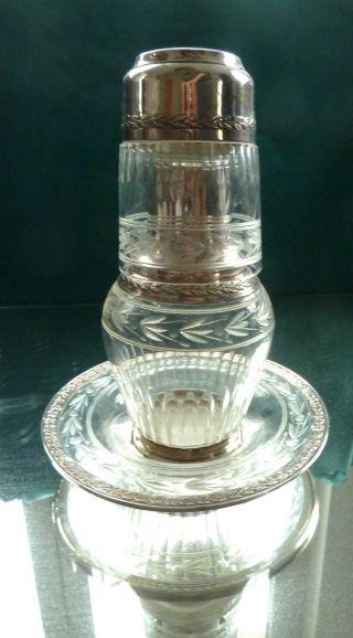 Nacht Karaffe Mit Glas Und Unterteller 950 Er Silber Minerva Frankreich Kristall Bild