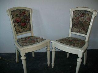 Antik 2 Stühle Stuhl Shabby Chic Landhaus Franske Weiß Vintage Bild
