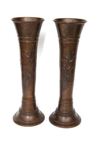 Paar Große Jugendstil - Vasen Aus Kupfer,  Um Ca.  1900 Bild