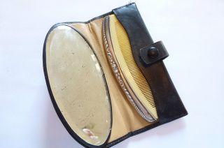 Jugendstil Art Nouveau Taschenkamm Silbermontur/bein Im Etui Mit Spiegel Bild