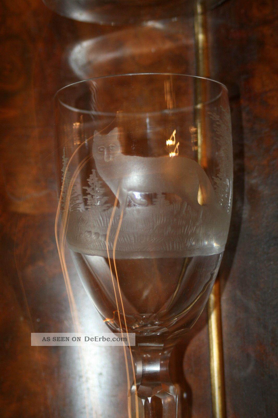 Antike Weingläser 2 Stk.  Mit Tiefschliff Jagdscene Kristall Bild