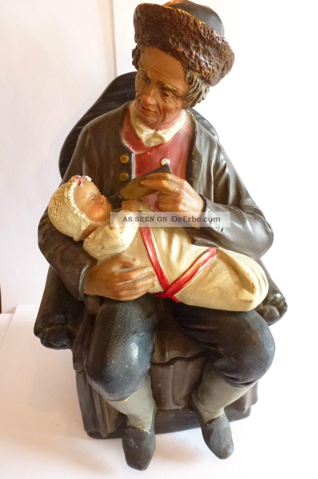 Jugendstil Tabakdose Edelmann Füttert Baby Von Bernhard Bloch Keramik Um 1900 Nach Form & Funktion Bild