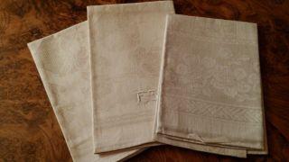 3 Verschiedene Handtücher Aus Dem Jugendstil Mit Blütendekor,  Ca.  1915,  Ungebr. Bild