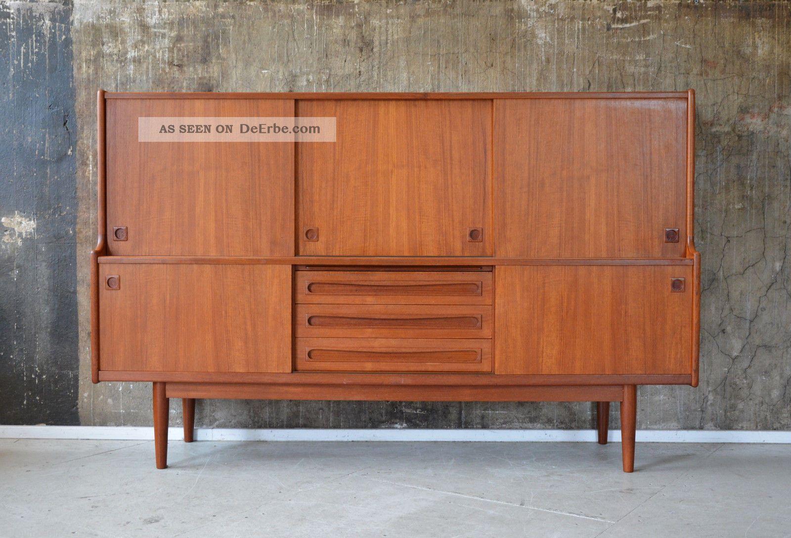 Teak Danish Credenza : 60er teak highboard kommode danish 60s credenza cabinet ib kofod