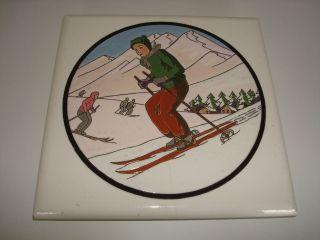 Art Deko Keramik Untersetzer Skiläuferin Bild