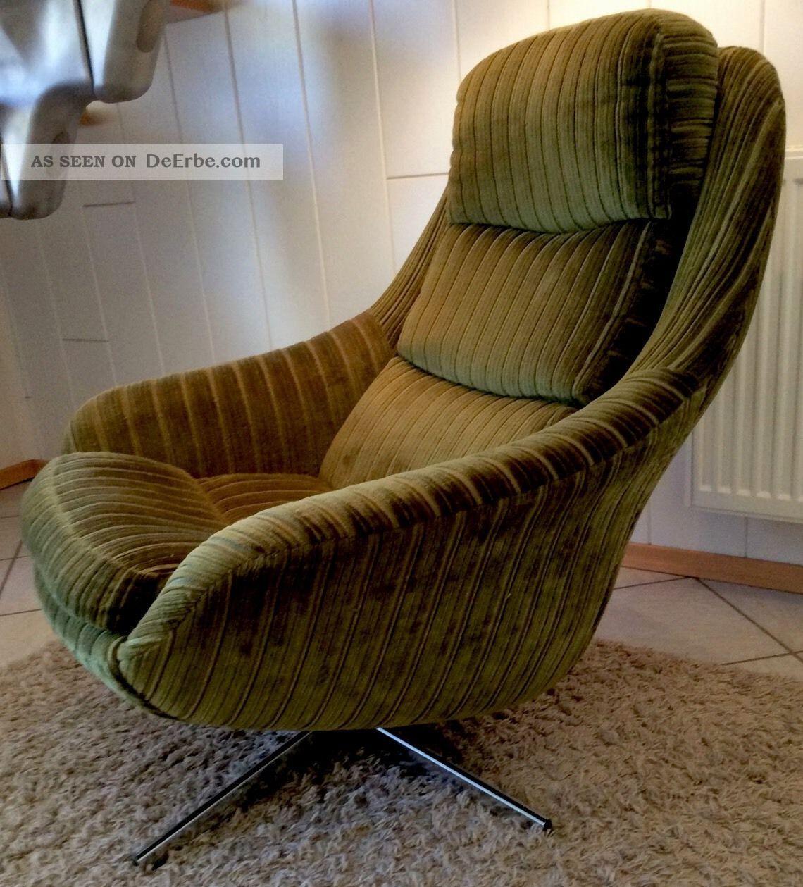 vintage 70er jahre sessel in gr n top. Black Bedroom Furniture Sets. Home Design Ideas