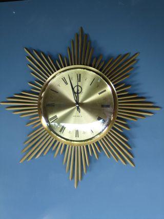 50er Sunburst Clock Messing Junghans Ø45 Wanduhr 50s W Starburst Spiegel Sonne Bild
