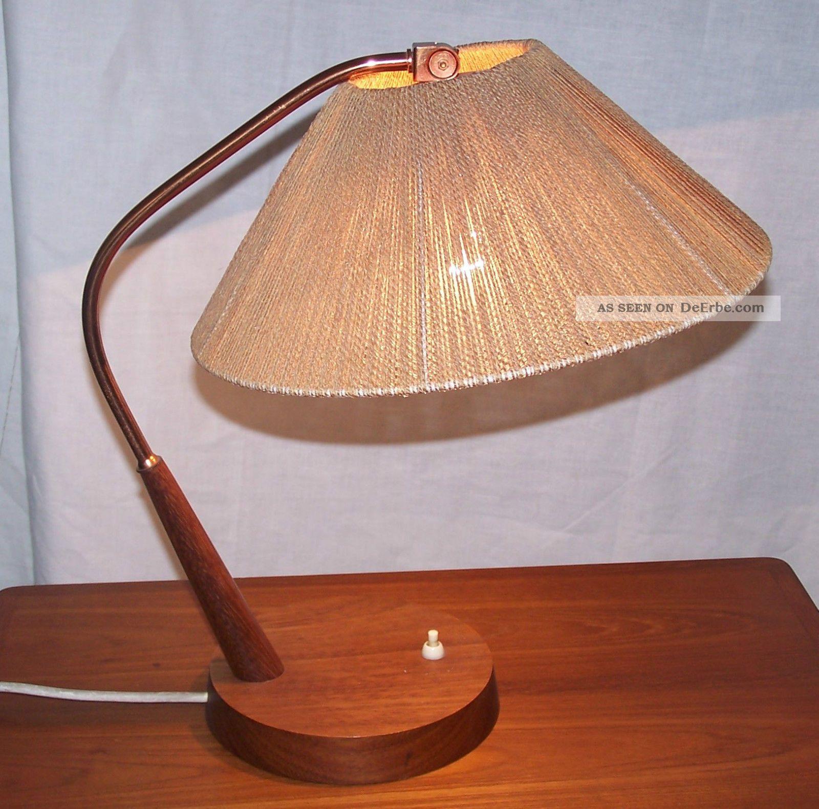 kupferlampe tischlampe table lamp temde typ 33 teakholz jacobsen aera danish. Black Bedroom Furniture Sets. Home Design Ideas