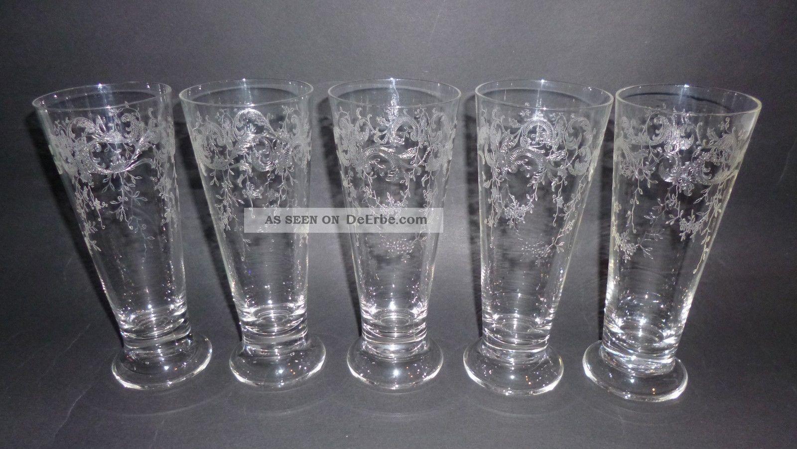 5 Jugendstil Kristall Glas Trink Gläser Herrliche Ätzung Floral Girlande Um 1900 Sammlerglas Bild