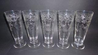 5 Jugendstil Kristall Glas Trink Gläser Herrliche Ätzung Floral Girlande Um 1900 Bild