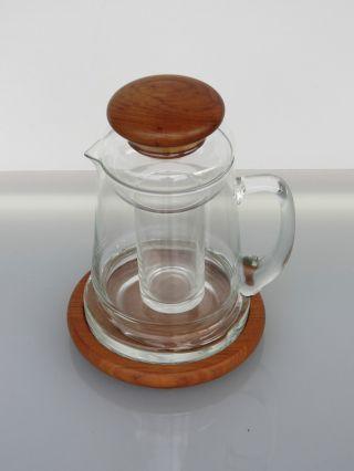 Teak Saftkrug Kristall Kanne Kalte Ente Krug Glas Karaffe 70er Jahre Bild