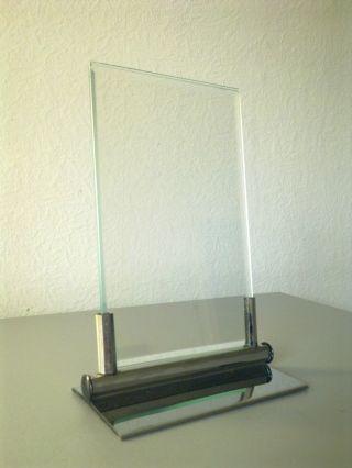 Art Deco Puristischer Bauhaus Bilderrahmen - Halter M.  2 Geschliffenen Gläsern Bild