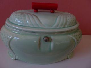 Hübsche Art Deco Keramikdose Mit Seltener Form Aus Den 30er (?) Jahren. Bild