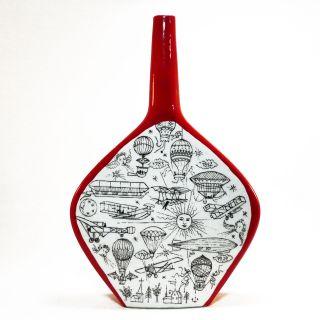 Porzellan Flaschen Vase • Luftfahrtsmotiv • Gemarkt • Um 1950 Bild