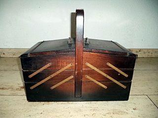 Großer Holz - Nähkasten 50er 60er Jahre Nähbox Mid Century Bild